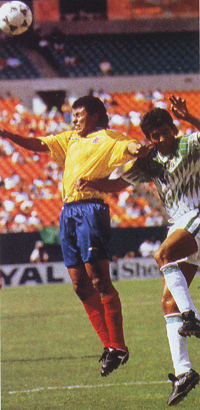 Alex Escobar, ejerciendo como sucesor del Pibe en un partido contra Bolivia previo a USA'94.